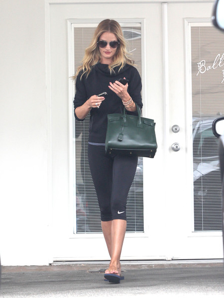Rosie Huntington-Whitely YSL green bag - celebrities who take their designer handbags to the gym - shopping bag - handbag