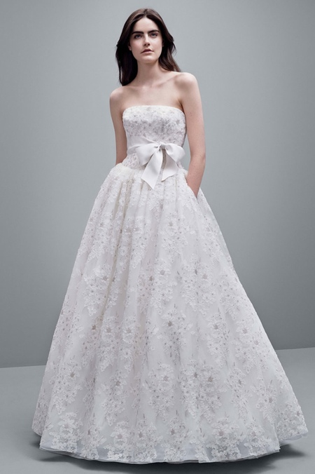 vera wang aw14 wedding dresses - floral lace dress - shopping bag - handbag