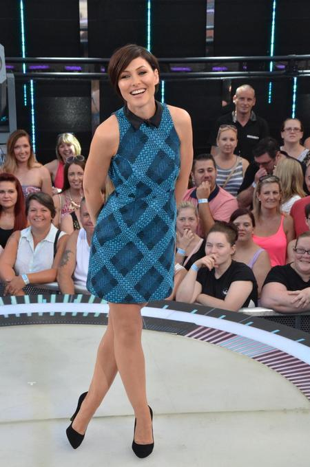 emma willis-big brother eviction night-dress-green and navy collar dress-whistle and wolf-celebrity fashion-handbag.com