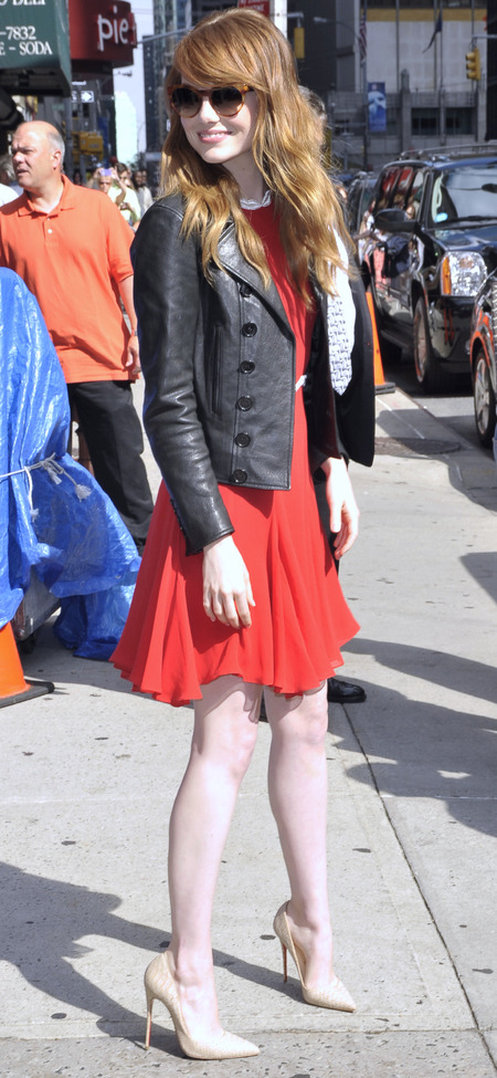 Red dress and leather jacket in New York
