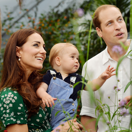 kate middleton green floral dress-prince george birthday portrait-prince william hair-kate middleton fashion and style-handbag.com