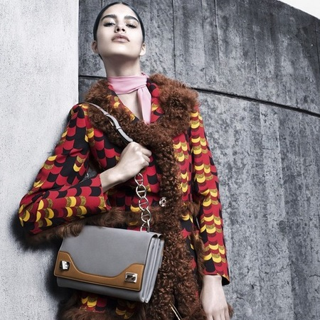 prada autumn winter 2014-new handbag-brown and grey shoulder bag-ad campaign-handbag.com
